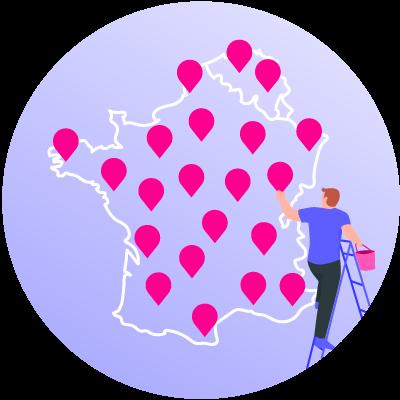 Carte de la France et de la Belgique